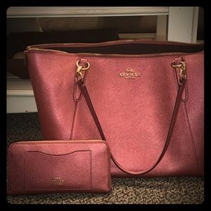 Pink Leather Coach Purse and Wallet set